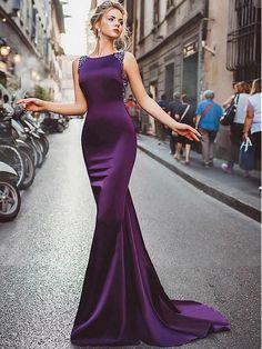 Sexy Prom Dresses Sheath Column Regency Long Cheap Prom Dress Satin Evening Dress JKL484