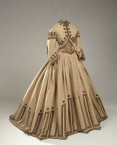 Gorgeously embroidered 1860's dress, would love to be in those time just to wear those dresses