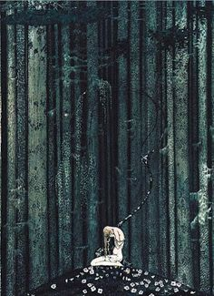 And then she lay on a little green patch in the midst of the gloomy  thick wood.— Kay Nielsen illustration..