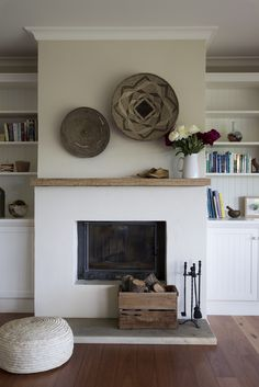 white fireplace with wood mantle - white fireplace . white fireplace with wood mantle . Stucco Fireplace, Simple Fireplace, White Fireplace, Fireplace Remodel, Fireplace Surrounds, Fireplace Design, Wood Mantle Fireplace, Modern Fireplace Mantles, Minimalist Fireplace