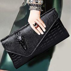 e838048836159 US $28.0 50% OFF Znane marki projektant torebka z prawdziwej Skóry  krokodyla wzór skóry wołowej panie sprzęgłowa torba kobiet torba na ramię  Kobiety torba ...