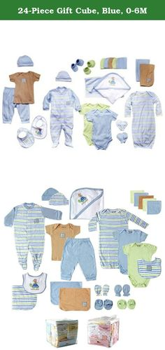 24-Piece Gift Cube, Blue, 0-6M. Luvable Friends 24 piece gift cube is a great set of baby clothes for any newborn. Each set includes 2 bodysuits, 1 tee top, 1 pair of pants, 2 pairs of booties, 2 scratch mittens, 1 sleep n play, 1 gown, 2 receiving blankets, 2 terry bibs, 1 hooded towel, 5 washcloths, 2 burp cloths, 2 caps and a reusable vinyl bag. All pieces of the set are designed to look great together to make dressing your little one nicely as easy as possible. Made of super soft…