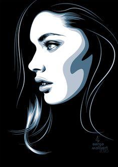 Scapa by sergemalivert on DeviantArt Vector Portrait, Digital Portrait, Pop Art Portraits, Portrait Art, Portrait Illustration, Graphic Illustration, Identity Art, Arte Pop, Art Tutorials