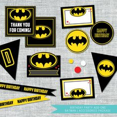 Batman Birthday Party Accessories Package | By Amanda Franks Designs | Digital File $12.00