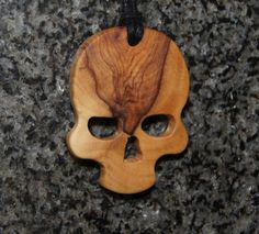 Gotic Skull  jewelry wood Skeleton Olive by OliveWoodJewellery, $20.00