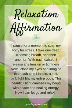 The next time you are feeling stressed or overwhelmed, pause for 5 minutes and find a quiet place. Use this affirmation/meditation to bring yourself back into balance. Release, relax, and find your center of peace once again.