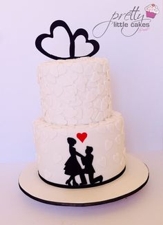 Pretty Little Cakes by Rachel Engagement Cake Design, Engagement Cakes, Wedding Cake Decorations, Wedding Cake Toppers, Buttercream Cake Decorating, Cake Pedestal, Cool Cake Designs, Valentine Cake, Little Cakes