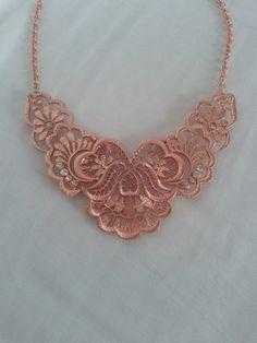 Rose Gold And Diamond Detailed Bib Necklace by LilyAndEllieShop, $24.00