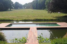 Plancher de terrasse en bois autour d'une piscine au milieu d'un étang dans une prairie