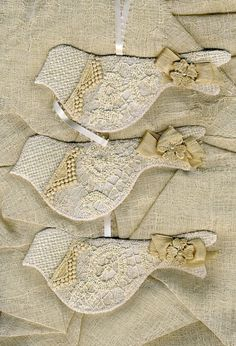 burlap & lace bird ornaments