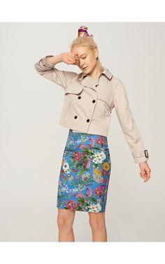 Spódnica w kwiaty, Spódnice, niebieski, RESERVED