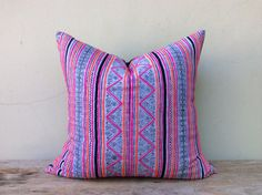 """Vintage Cotton Tribal Hand Print Patch Work Organic Pillow Case 22"""" x 22"""" Pieces Of Retro Tribal Costume"""