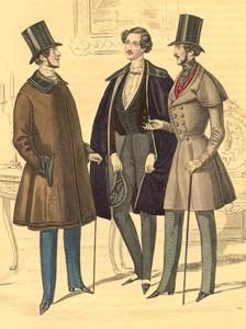 Chesterfield Coat- named after the Sixth Earl of Chesterfield who was influential in English social life in the 1830s and 1840s. Term applied to a coat with either a single or double-breasted closing. Coat has no waistline seam, a short vent in the back, no side pleats, and often a velvet collar