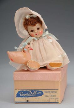 """8"""" hard plastic Crib Crowd baby doll with box, United States, 1950-52, by Vogue Dolls, Inc."""