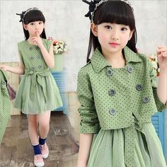 Cheap dress shirt neck size, Buy Quality dress polyester directly from China dress casual attire women Suppliers: Girls spring suit 2017 new Korean dress coat + two sets of children leisure suit 4 color Polka Dot Dress Set Kids Outfits Girls, Girl Outfits, Girls Dresses, Kids Dress Wear, Spring Girl, Autumn Girl, Cute Little Girl Dresses, Coat Dress, Dress Set