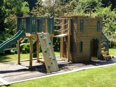 Two storey play castle, wobble bridge link to play platform