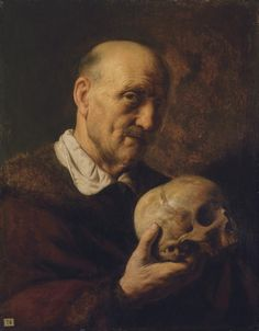 Jan Lievens (Leiden 1607-1674 Amsterdam) -  vanitas: An old man, half-length, in a fur-lined coat, holding a skull, oil on panel,  24¼ x 19 in. (61.6 x 48.3 cm.)