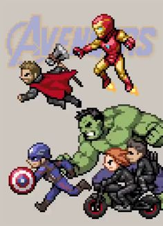 Avengers by HectNishi (re-post - HD) Marvel Dc Comics, Marvel Avengers, Marvel Funny, Marvel Memes, Avengers Cartoon, Funny Avengers, Pixel Art Super Heros, Die Rächer, Marvel Cinematic Universe