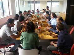 Whispir's dev team enjoying a slice of pizza while discussing our upcoming new mobile experience. Hint: HTML5 :)
