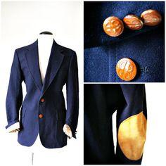 vintage navy BILL BLASS classic blazer size M/L by PasseNouveauVintage, $40.00
