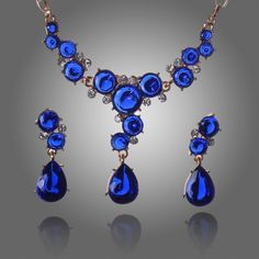 2014 Hot selling Multicolor Crystal with 18k Gold Plated Wedding Jewelry Sets for brides Fashion Jewelry set Free Shipping