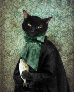 'Lady Jigger' Black Cat Print Animal photography Portrait by TheLonelyPixel