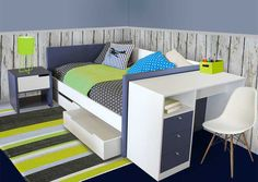 The Modern Daybed allows teens to hang out in the day and sleep comfortably at night. Paired here with a study desk, chair and pedestal; even the smallest room can work well if the layout is well thought out.