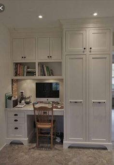 Super Home Office Cabinets Built Ins Desk Areas Ideas Office Built Ins, Built In Desk, Built In Cabinets, Tall Cabinets, Filing Cabinets, Stock Cabinets, Storage Cabinets, Kitchen Desk Areas, Kitchen Desks