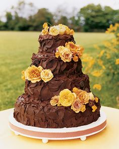 Chocolate Wedding Cake with Yellow Roses