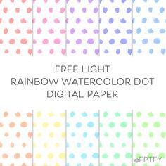 Free Digital Backgrounds: Light Rainbow Watercolor Dot Paper