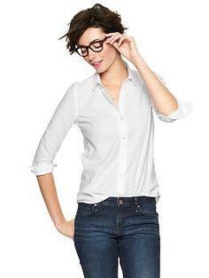 Fitted boyfriend oxford shirt | Gap (and they have a few more - this one is non-stretchy, but they have stretchy too)