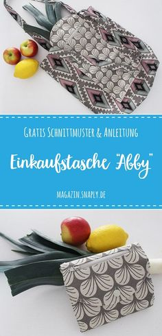 """- Kostenloses Schnittmuster: Zusammenfaltbare Einkaufstasche """"Abby"""" Sewing foldable shopping bag, sewing pattern for free, Freebook incl. Sewing Patterns Free, Free Sewing, Free Pattern, Diy Bags Purses, Diy Purse, Dollar Store Hacks, Dollar Stores, Folding Shopping Bags, Fashion Pattern"""