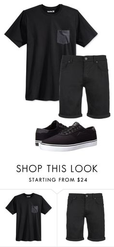 """Black 289"" by mrswilkinson ❤ liked on Polyvore featuring Hurley, SELECTED, Lakai, men's fashion, menswear, Summer, black, summerstyle and summer2016"