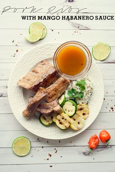 Pork Ribs with Mango Habanero Sauce by Three in Three #readysetribs #weavemade #ad