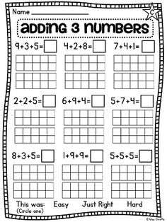 Adding 3 numbers worksheets and centers - great for practicing 3 addends
