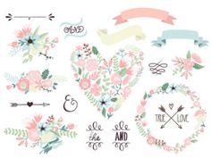 Hochzeit Blumen Clipart, digitale Kranz, Blumen Bilder, Blumen, Pfeile Clip Art Scrapbooking, Hochzeitseinladungen, Bänder, Banner, Herzen