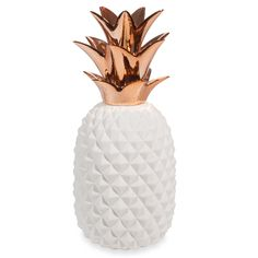 Statue ananas en porcelaine blanche H 40 cm COPPER
