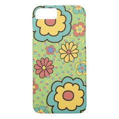 Cute Green Orange Blue Boho Floral iPhone7 case