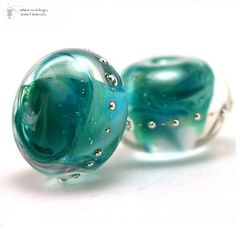Glass lampwork beads Caribbean Silver large rounds handmade