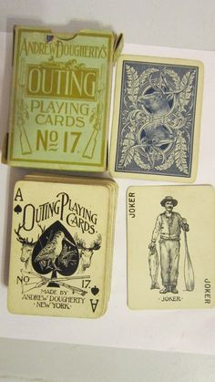 Antique Andrew Dougherty's Outing Playing Cards No.17 Elks Head 52 Cards w/Joker | eBay