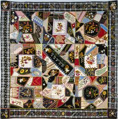 Amazing !! such beautiful handwork. Quilt, Crazy patternca. 1877 Geography: Midwest, North's Landing, Indiana, United States Culture: American Medium: Silk, silk velvet, cotton, and cotton lace