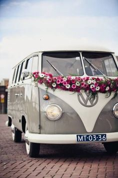 VW bus with a colorful garland