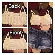 Handmade crocheted crop top with scallop edge has the feel of lightweight cotton perfect for festival season. Pair with shorts or maxi skirt.  Model is wearing an XS