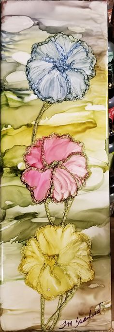 Soft petal flowers in alcohol ink on long 12x4 ceramic tile by Tina