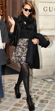 Jessica Alba floral skirt & lita shoes