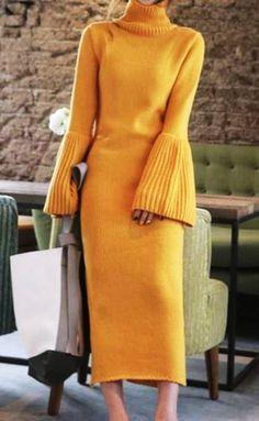 Yellow dress Women casual dress long sleeve dress elegant dress trendy knit dress from merino wool Fashion Moda, Knit Fashion, Look Fashion, Trendy Fashion, Fashion Outfits, Winter Fashion, Fashion Trends, Dress Fashion, Korean Fashion