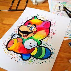 Watercolor Nintendo paintings by Lisa-Marie Melin