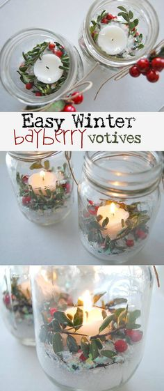 www.creativemeinspiredyou.com These beautiful fresh inspired candle votives look lovely in the evening, sprinkle in some epsom salts, a little bayberry stems and cranberries to sparkle in the soft glow of a candle. Christmas, decorating, decor, DIY, handmade, homemade, mason jar, mason jar ideas, mason jar decor, candles, votives, christmas decorating, snowy, snow