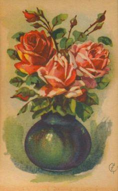 Gratulasjonskort roser Erling Nielsen brukt 1940-tallet Norsk arbeide