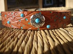 """Leather Dog Collar. Embossed 1"""" Tan Collar. Flowering Vine Design. Hand painted with Turquoise Rivets and Flower concho. on Etsy, $46.00"""